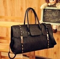 new 2014 Free shippin 2012 new Punk metal skull big bags black fashion shaping women's handbag one shoulder handbag