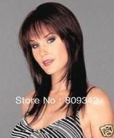 brun moyen perruque de cheveux fait/brown wig