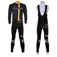 Free shipping!2011 livestrong team cycling winter jerseys and bib pants/thermal fleece bicycle wear/bike long sleeve jersey