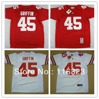 Wholesale- Ohio State Buckeyes Archie Griffin #45 Red and White College Football Jersey Size:48~56