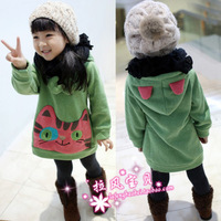 Children's clothing fleece cat velvet thick good Hoodies girls long design outerwear Fast Free Shipping Swiss Post
