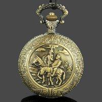 Free shipping Vintage Style Don Quixote Antique Ride Horse Clock Necklace Quartz Pocket Watch