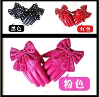 ladies' fashion leather gloves big bowknot imitation leather gloves XC-18 3 colours