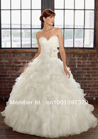 White/Ivory Sweetheart Flower waist Organza Ball Gown Wedding Dresses Bridal Gowns Custom
