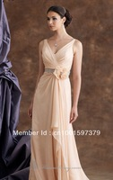 Sexy V Neck Ruched Chiffon Mother of the Bride Dresses Prom Ball Evening Gowns Custom