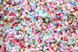 4mm,6mm,8mm,10mm Mix Color Round Flatback ABS Half Pearl beads DIY accessory for Nail/Mobile Phone garment(China (Mainland))
