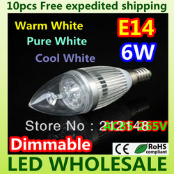 Free shipping 10x Dimmable 6W 3*2W E14 E27 High Power Energy-Saving LED Candle Light Bulb Lamp Ceiling chandelier led lighting(China (Mainland))