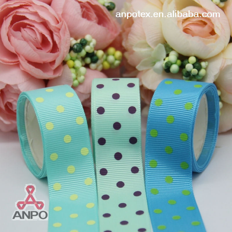 7/8&#39;&#39; new arrival high quality dots 22mm printed grosgrain ribbon screen Ink print free shipping PT657(China (Mainland))