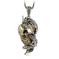 Collage 925 pure silver jewelry vintage thai silver skull pendant male fashion men