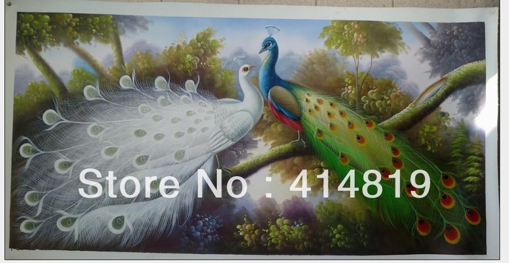 Pinturas livres do transporte! Pintura do pavão da qualidade de Musuem!! Arte moderna Handpainted do repouso/parede! A002 novo