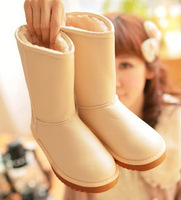 Hot sale Winter casual knee-high leather snow boots for women,fashion cow muscle outsole plush shoes,Free shipping