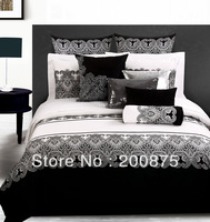 100% Cotton Free Shipping--wholesale -- The Classics of  WHITE and BLACK -- painting bedding set /bed linen / 4pcs comforter set