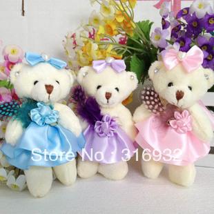 J6 Free shipping Mini plush teddy bear 12cm toy, mix shipping, 12pcs/lot
