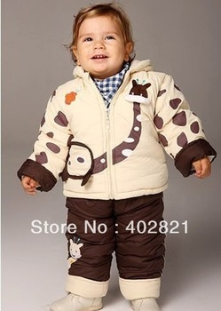 retail baby winter clothing set coat + pants cotton fleece suit toddlers thick garment free shipping