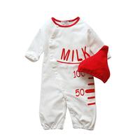 Baby romper Girl's One-Piece romper Lovely milk bottle design romper long sleeve baby Sleeping bag