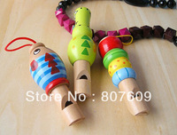 Free shipping Child toy wooden cartoon animal whistle Large whistle music toy mobile phone backpack hangings