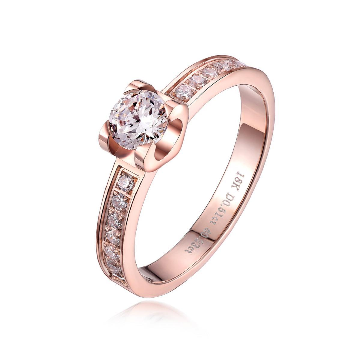 female titanium plated 18k rose gold CZ crystal ring fashion lovers wedding gift christmas passion,antiallergic IF-R024(China (Mainland))