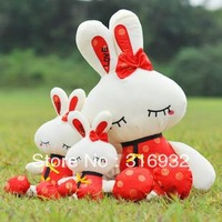 J1 Free shipping 65cm Tang suit flower love rabbit plush toy, christmas gift, 1pc