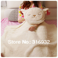 J2 Soft plush dual-use Dolly sheep cushion/air-condition blanket ,plush toy pillow,1pc