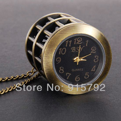 Vintage Style Bronze Tone Bird Cage Quartz Ladies Womens Pocket Watch w/ Necklace Chain Nice Gift Wholesale Price H090(China (Mainland))