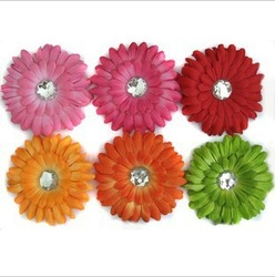 48pcs 4 Inch Baby Crystal Daisy Flower Hair Bow Clip 4'' Girl Gerbera Flowers 4Inch Hair Clips(China (Mainland))