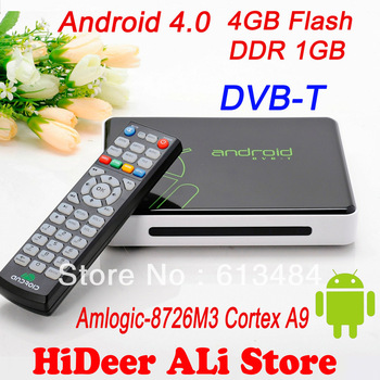 DVB-T Google Android 4.0 Smart TV Box IPTV WiFi Internet HD 1080P HDMI player ARM Cortex A9 1GB /4GB ET02 DVB T Free Shipping