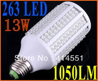 E27 13W 200-230V 263 leds 1050LM Cold White Corn Light Bulb LED Bulb Lamp led lighting free shipping