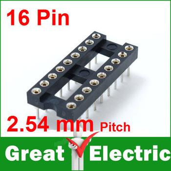 50PC/Lot  16 Pin 2.54mm Pitch DIP IC Sockets Round Pin Free Shipping XKSMGIC16