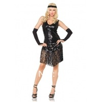 free shipping Hot Blk Blingbling Dancing Diva Adult Costume Dress Clubwear/w hair accessory