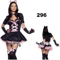 free shipping Sexy Blk Kitty Cat Girl Adult Costume Dress fullset /w Petticoat