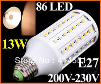 1550LM 200V-230V 13W E27 LED Lamp 86 SMD 5050 LED Corn Light LED Bulb Lamp Lighting Warm White free shipping