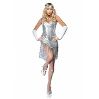 free shipping Hot Sexy Silver Blingbling Dancing Diva Adult Costume Clubwear Dress /w Hair Accessory