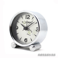 FREE SHIPPING Stainless steel white alarm clock fashion brief quieten