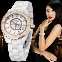 Fashion wristwatch ceramic women's watch rhinestone inlaid gold dial 9905 free shipping EMSHOT