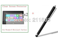 2XNew  Clear Screen Protector Fim+Stylus For Microsoft Window 8 Surface 10.6 '' Tablet With Retail Package ,free shipping!!!
