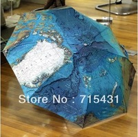 50pcs/lot DHL Free Shipping wholesale World Map Umbrella Anti-UV Water repellent Auto Three-Fold Umbrella 440g