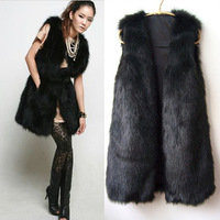 2013 New Long Style Faux Rabbit Fur Coat Vest Women's Black Fashion Fur Vest Free Shipping