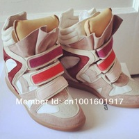 Promotion  100% Genuine Leather  !! Logo WITH Box Isabel Marant Sneakers shoes Wedge   woman shoes Pink Blue White Black