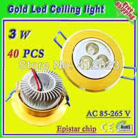 3 x 1 Watt led golden spot ceiling lights_free shipping Faretti da incasso warmweiss