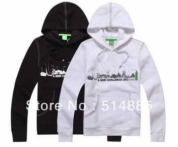 free shipping brand men's jackets,  a new challenge 2012 pullover hoodies best quality  black and white M-XXL