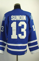 #13 Mats Sundin Men's Classic Vintage Home Blue Throwback Hockey Jersey