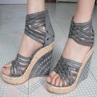 Fashion platform wedges gladiator high heel sandals