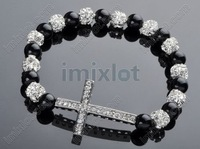 Wholesale 3X Rhinestones Honesty Crystal Beads Sideways Cross Shamballa Bracelets [B604A*3]