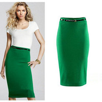 FREE SHIPPING 2014 summer women's  medium-long slim hip slim bust skirt with FREEbelt