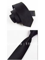 Man fashion leisure tie pure color black 7 cm han2 ban3 narrow tie
