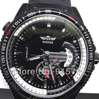 2012 Fashion men's Automatic mechanical watch Sports Wristwatches Black Dial  Rubber Band Wholesale Price Nice Gift A376