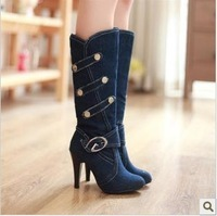 2012 Hot Sales Free Shipping New Brand Fashion Ladies Winter plush shoes New style of Popular euramerican denim boots