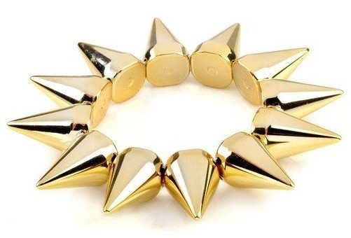 New 5pc Wholesale Lot Punk Stud Spike Rivet Elastic Stretch Gold Bangle Bracelet(China (Mainland))