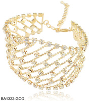 Min. Order is $15 mixed order  Free Shipping Romantic Bracelet Women Diamante Chain Link Bracelets BA1322 Gold