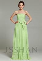 12B004 Beach Strapless Empire A-Line Ruching Bowknot Chiffon Elegant Gorgeous Luxury Prom Bridesmaid Dress Bridesmaid Prom Dress